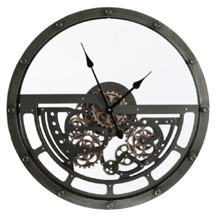 Half Skeleton Cogs Wall Clock